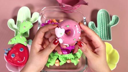 超多甜品一次捏个够,最后混上无硼砂水晶泥,会变成什么颜色呢?