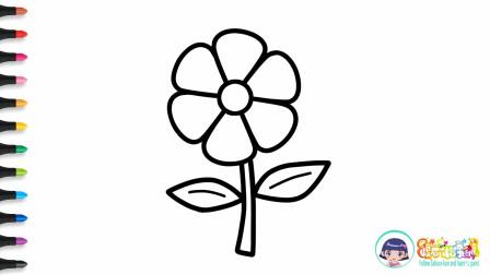 儿童创意简笔画教程,今天教小朋友们画常见的树叶小花