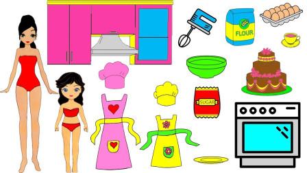 手工纸娃娃玩具:纸娃娃穿上厨房服装制作蛋糕
