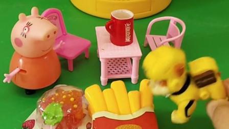 小丽来找乔治玩,东西吃完就不等乔治了,猪妈妈觉得她是来吃饭的!