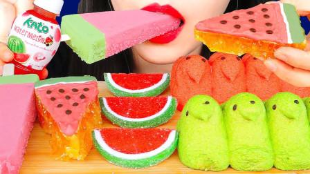 """韩国ASMR吃播:""""西瓜冰淇淋+蜂巢蜜+棉花糖+橡皮软糖"""",听这咀嚼音,吃得真馋人"""