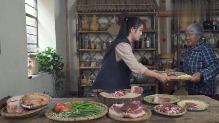 农村姑娘今天做了一道火腿木瓜鸡和火腿披萨,一家人吃得其乐融融