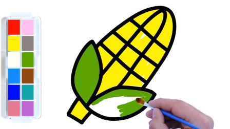 漂亮的玉米简笔画,简单易学又好玩,涂上鲜艳的颜色真好看!