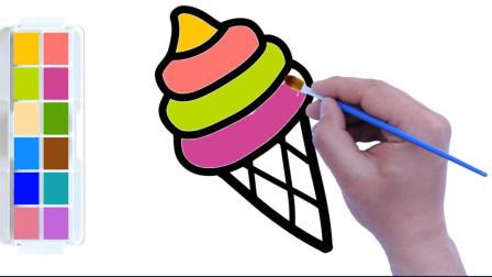 漂亮的冰淇淋简笔画,轻松几步就画好,配上颜色真好看!