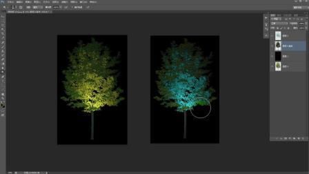 怎么用ps做灯光效果★如何用PS制作亮化设计打光树素材?