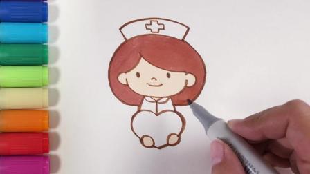 儿歌多多儿童简笔画 护士节 艺术启蒙宝贝学画白衣天使抚慰伤痛