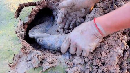 大叔荒田寻野,发现有洞口就开挖,野货抓了一条又一条,赚发了!