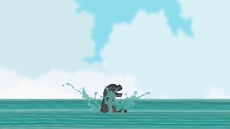 黑色幽默动画小哥斯拉差点被鲨鱼吞噬蝴蝶怪兽出现得太及时了