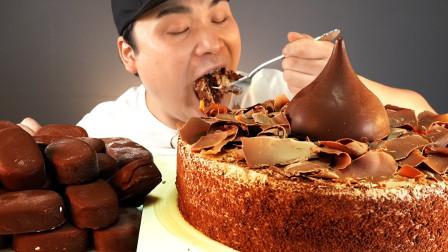 """韩国donkey吃播:""""甜甜的牛奶巧克力蛋糕+巧克力冰淇淋"""",听这咀嚼音,吃货小哥吃得真馋人"""
