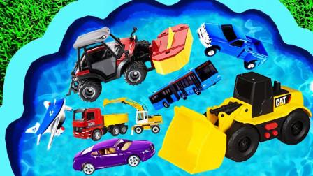 儿童趣味玩具乐园:拖拉机、挖掘机、吊车、火车、消防车、推土机、轮船、运输车、飞机!