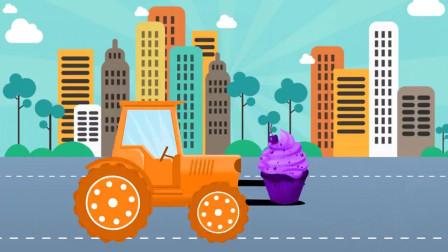 卡通动画叉车吃冰淇淋,学习颜色英语单词