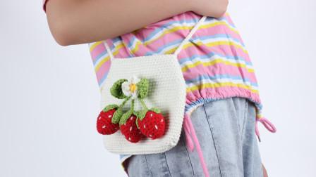 娟娟编织467B一款你肯定会做成亲子款的草莓包包图解视频