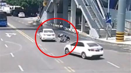 行人图方便横穿马路与小车擦挂 交警判定双方均有责任