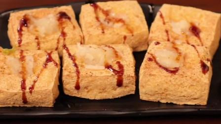 大胃王mini吃酸奶酱炸豆腐,西多士的沙拉酱蘸着也好吃!