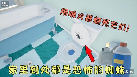 打蜘蛛模拟器:家里到处都是蜘蛛?看我用喷火器消灭它们!