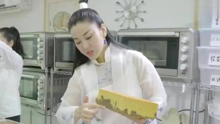 老广的味道:广东女士做一个陈皮芝麻蛋糕,山水形状的蛋糕