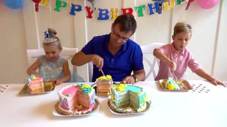 萌娃小可爱们给爸爸过生日,两个小家伙可真懂事呀!—爸爸:好漂亮的生日蛋糕呀!
