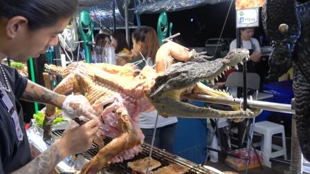 """泰国小哥""""烤全鳄"""",一整只架着就烤,游客只敢看不敢吃!"""