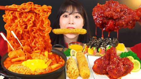 韩国美女上线吃播:香辣泡面搭配年糕炸鸡,这小日子也太逍遥了