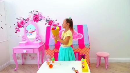 国外儿童时尚,小萝莉制作美味水果蛋糕,发现了家里有好多蜜蜂