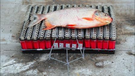 用250个打火机能不能把一条鱼给烤熟呢?老外作死实验,结果太硬核了