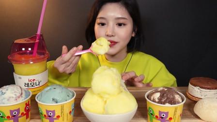 """韩国ASMR吃播:""""柠檬口味的冰淇淋+奶油芝士冰淇淋+马卡龙冰淇淋"""",听这咀嚼音,吃货欧尼吃得真满足"""