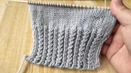毛衣底边和袖口都能用的上的编织花型,平螺纹和歪字针的组合