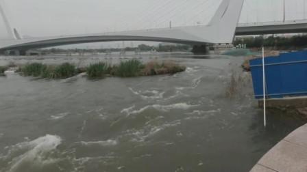 永定河上游水库放水,下游河道内公园设施被淹没,百年难见的景象