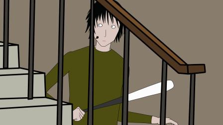 有个人躲在公寓楼梯下,惊悚动画