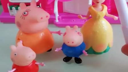 小猪佩奇玩具:今天天气很好,猪妈妈带着乔治和佩奇出去玩了,他们很高兴