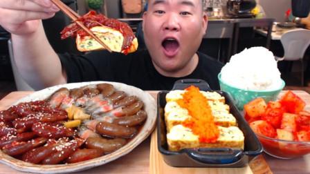 """韩国ASMR吃播:""""调味酱虾+酱油虾+红色飞鱼籽鸡蛋卷+白米饭+萝卜泡菜"""",听这咀嚼音,吃货小哥吃得真过瘾"""