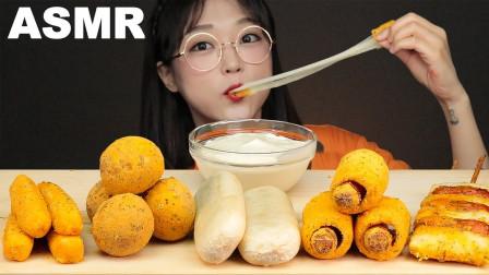 """韩国ASMR吃播:""""BHC芝士球+芝士条+年糕+热狗+糖饼"""",听这咀嚼音,吃货欧尼吃得真馋人"""