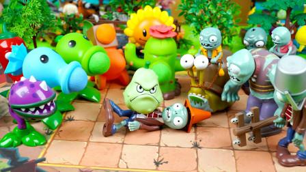 植物大战僵尸玩具:植物在睡懒觉,窝瓜吓跑准备进攻的僵尸大军