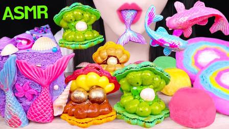 """韩国ASMR吃播:""""彩虹棉花糖+美人鱼尾蛋糕+糯米糍冰淇淋+珍珠马卡龙"""",听这咀嚼音,吃货欧尼吃得真馋人"""