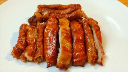 大厨分享脆皮猪大肠做法,不用烤不放酱油,外脆里香,招牌菜之一