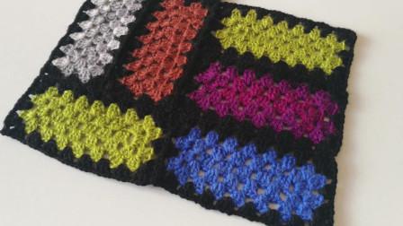 钩针编织教程,长方形彩块图案的钩织方法!