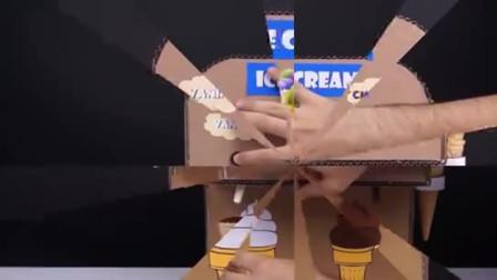 牛人自制双色冰淇淋自助机,摁下按钮,香草冰淇淋出来了!