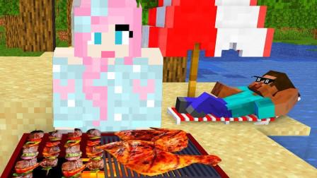 我的世界粑粑村生存:大型沙滩烧烤现场,一个椅子玩出N种花样