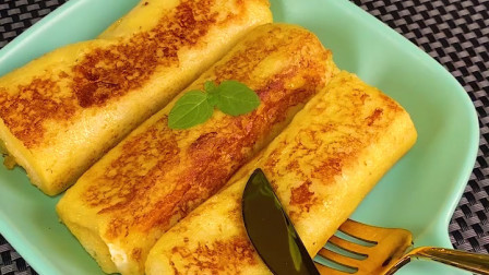 跟泡个面差不多难度的蛋黄吐司卷,早餐下午茶宵夜都适合来一份!