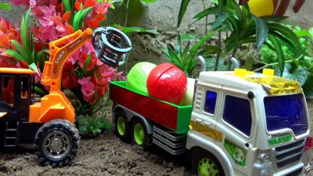 亮亮玩具汽车工程车采摘蔬菜水果,儿童益智卡通,婴幼儿宝宝过家家游戏视频