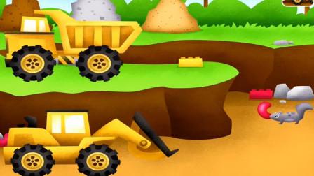挖掘机和工程车合作运土遇到小松鼠怎么办?