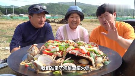 吃播:韩国农村一家人,今天妈妈做了海鲜豆腐火锅,父子俩吃嗨了