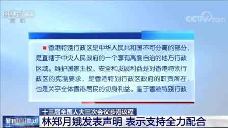 十三届全国人大三次会议涉港议程 林郑月娥表示支持全力配合