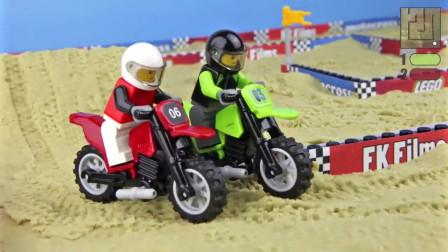 乐高定格动画-沙滩摩托竞赛
