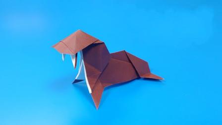 儿童折纸教学:教你折纸一只海象,简单海象折纸教程