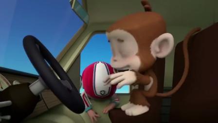 汪汪队:莱德用香蕉吸引小曼的注意力让阿奇用网子抓住他。