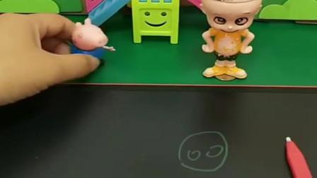 小猪佩奇玩具:乔治考了第一名,老师奖励了写字本,大头就要抢乔治的写字本