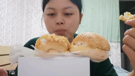吃播:肉松面包 三明治 汉堡面包
