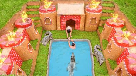 """现实版""""与鳄共舞""""!牛人小哥脑洞大开,野外建造地下泳池养鳄鱼!"""
