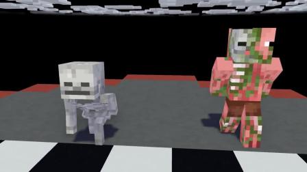 我的世界动画-怪物学院-冲关跑酷双人对抗赛-Maltshake Animations